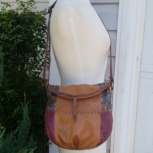 The Sak Tan Brown Leather Flap Crossbody Bag